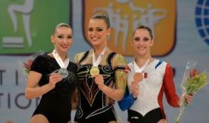Aerobic WCh 2014 Cancun/MEX: podium individual women, CONSTANTIN Oana Corina + GAZOV Lubov + JOLY Aurelie